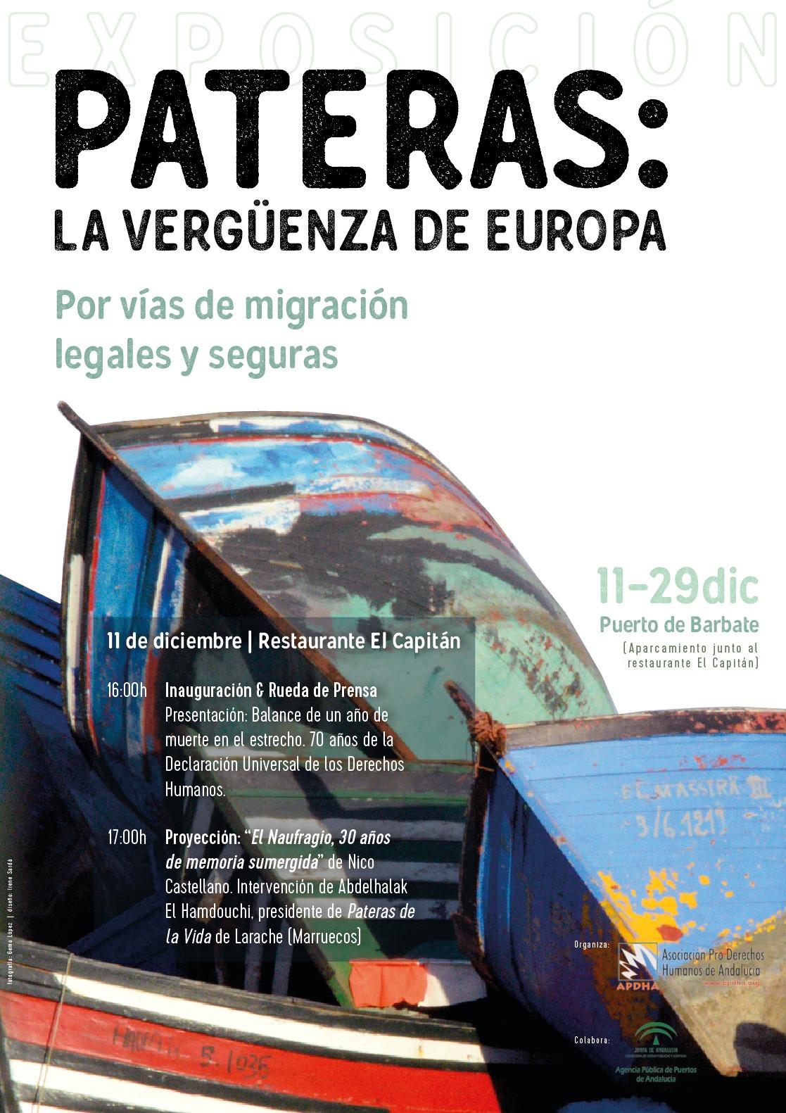 EXPOSICIÓN: PATERAS: LA VERGÜENZA DE EUROPA. PUERTO DE BARBATE DEL11-29 DICIEMBRE